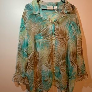 Alfred Dunner Sheer Tropical blouse 20w